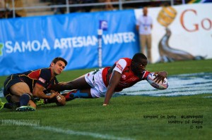 Tony Owuor going over for his debut try.