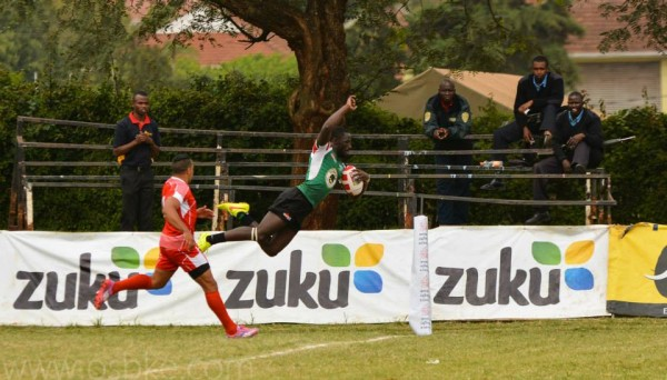 Sammy Oliech going over for a try