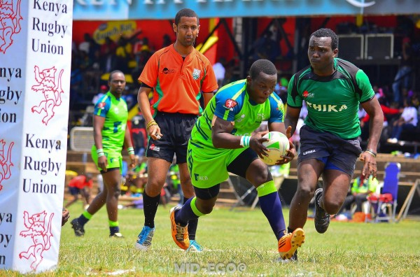 Ken Moseti goes over for a try against Thika.